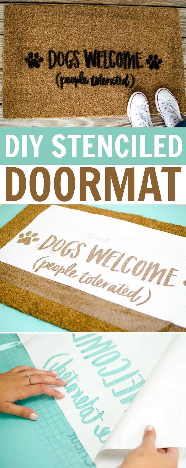 Every time a guest walks in your door, the personalized DIY Stenciled Doormat w...