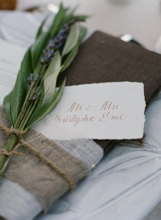 Beautiful Napkins with Hand-Written Place Cards