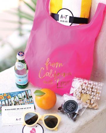 bright guest welcome bag via Martha Stewart Weddings Magazine | Amanda  Layer Ca...