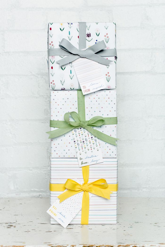 gift wrap papers from Sycamore Street Press with tight weave cotton ribbons