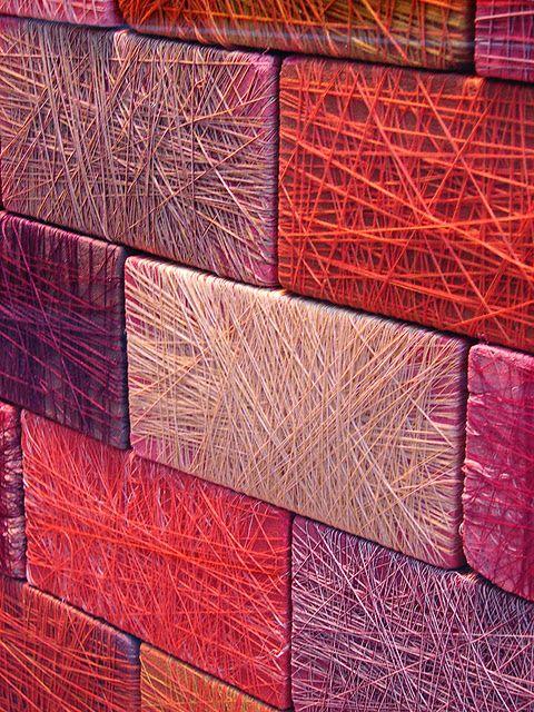thread wrapped bricks, Anthropologie