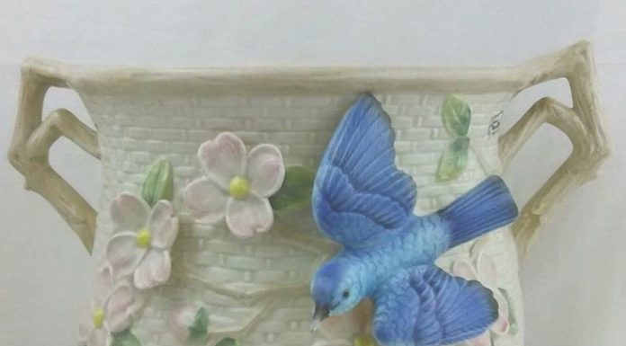Mom Birthday Gifts VTG Retired Fitz And Floyd Blue Bird Pink Dogwood Blossom Double Handle Canister