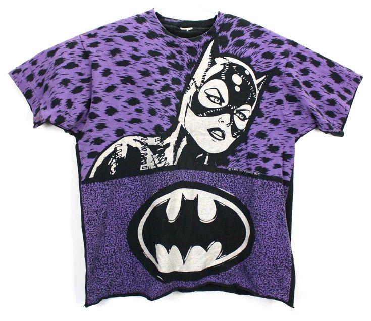 Vintage DC Batman Returns Mens XL T Shirt Catwoman 1992 Michelle Pfeiffer Purple...