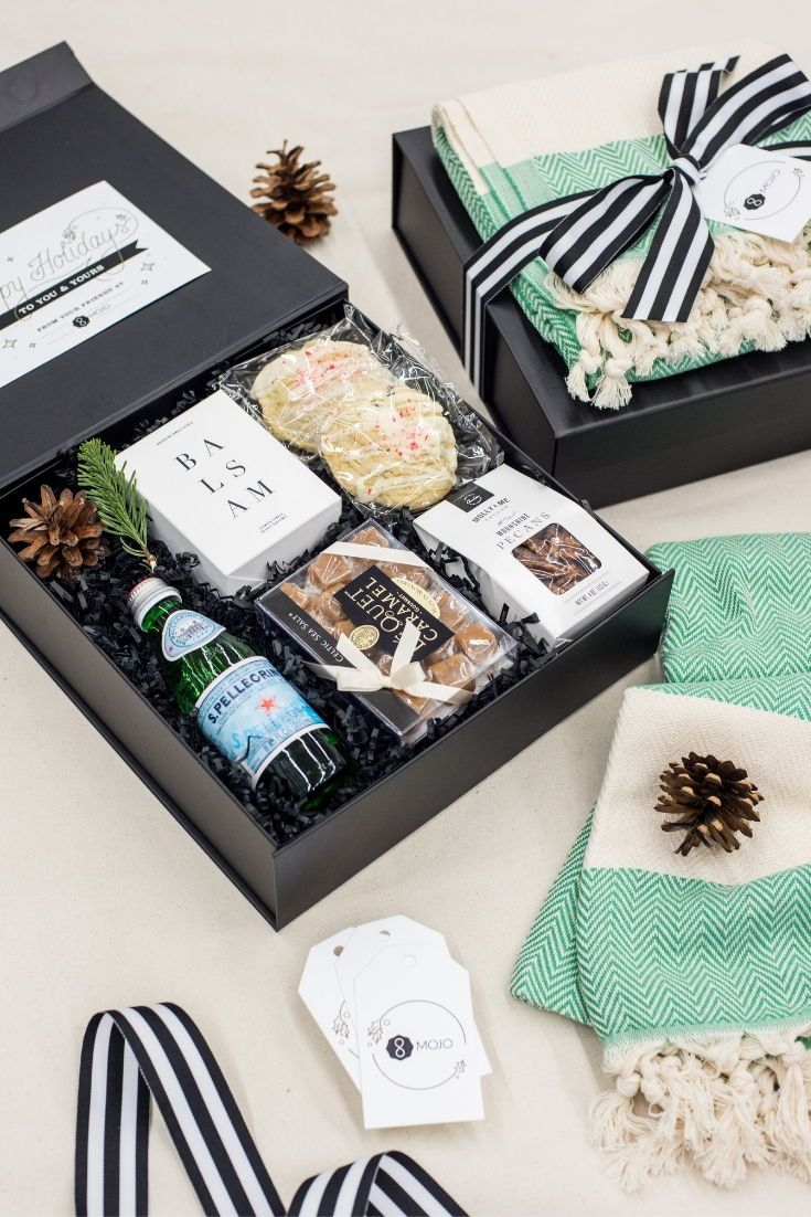 CLIENT GIFTS//  Black, white and aqua client appreciation gifts thoughtfully des...