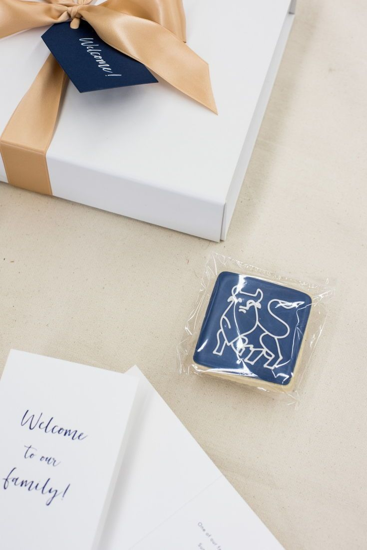 CLIENT GIFTS// Royal blue, gold and white client 'Welcome to Our Family' gift bo...