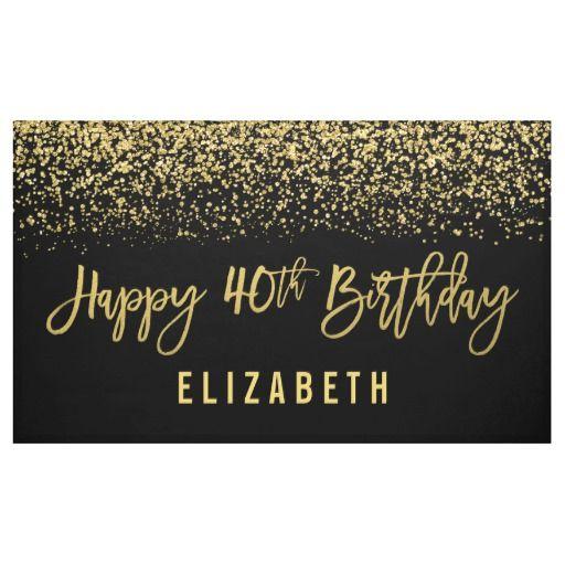 Modern Black Faux Gold Glitter 40th Birthday Banner