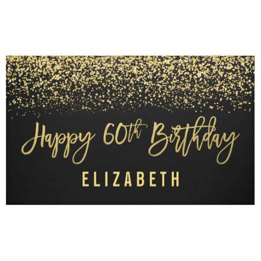 Modern Black Faux Gold Glitter 60th Birthday Banner