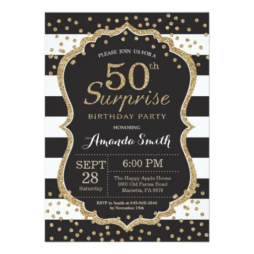 Birthday Gifts Ideas Surprise 50th Invitation Gold