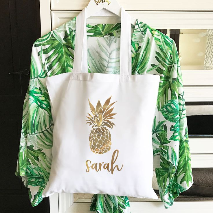Natural canvas tote bag printed with Pineapple graphic and custom name in gold f...