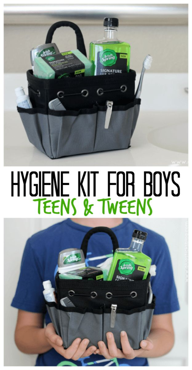A simple grooming and hygiene kit for boys with lightly scented bath and body pr...