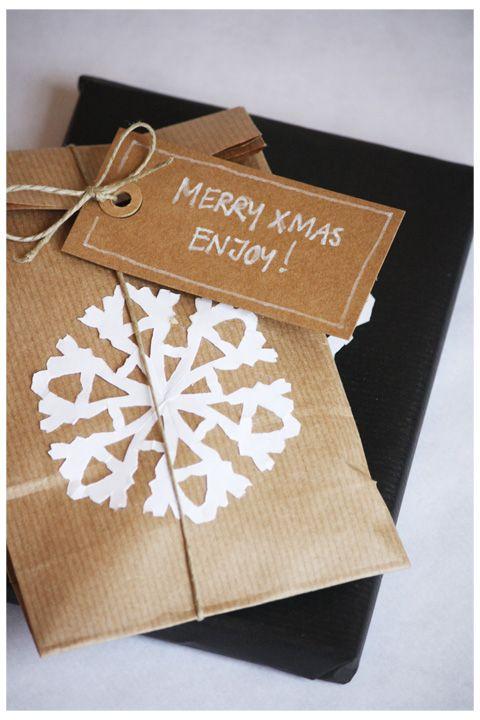 kraft packaging with paper snowflake