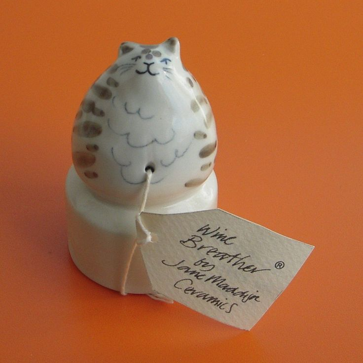 Wine Bottle Breather Ceramic Jane Maddison Cat Design
