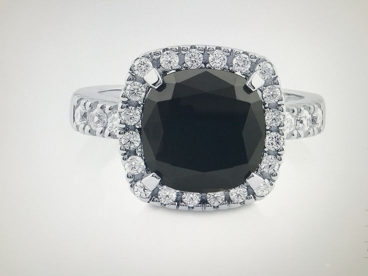 A Perfect Black 5.4CT Cushion Cut Halo Russian Lab Diamond Engagement Ring