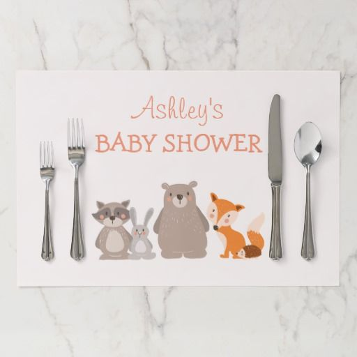 Woodland placemat Birthday Baby shower Forest Fox