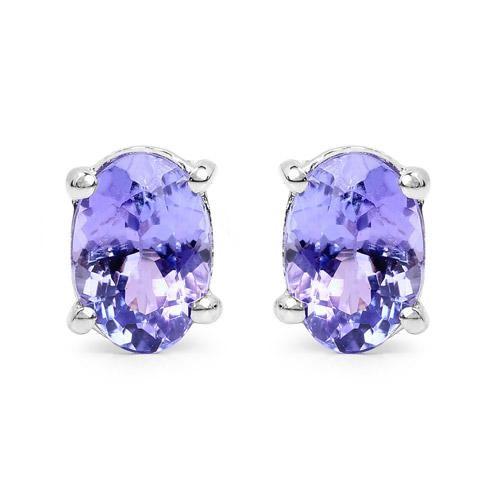 Natural 1.50CT Oval Cut Blue Tanzanite Stud Earrings