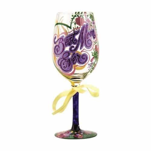 Beautiful wine glass for the Best Mom Ever (Mothers Day gift ideas)