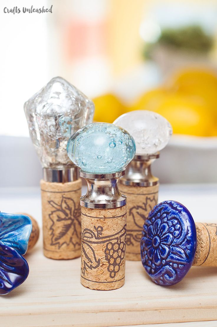 Decorative wine stoppers are a cute and easy way to make Mother's Day a little m...
