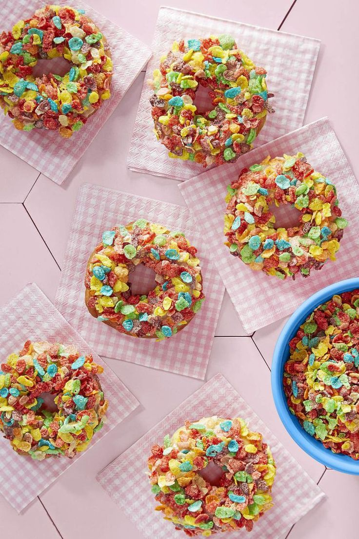 Make mom feel like a kid again on Mother's Day morning with Fruity Pebbles donut...