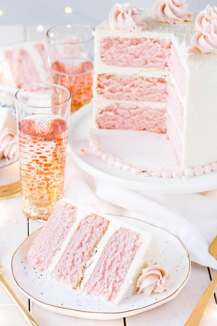 Serve Mom a slice of this pink champagne cake with a glass of bubbly.