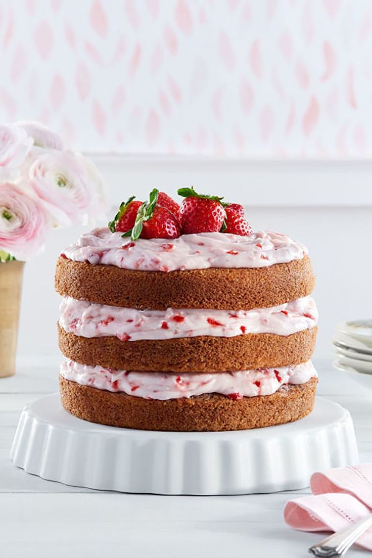 The strawberry cream cheese frosting on this cake will be a delicious addition t...