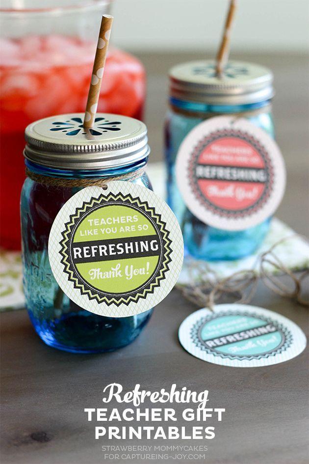 Refreshing Teacher Gift Ideas plus Free Printables on Capturing-Joy.com!