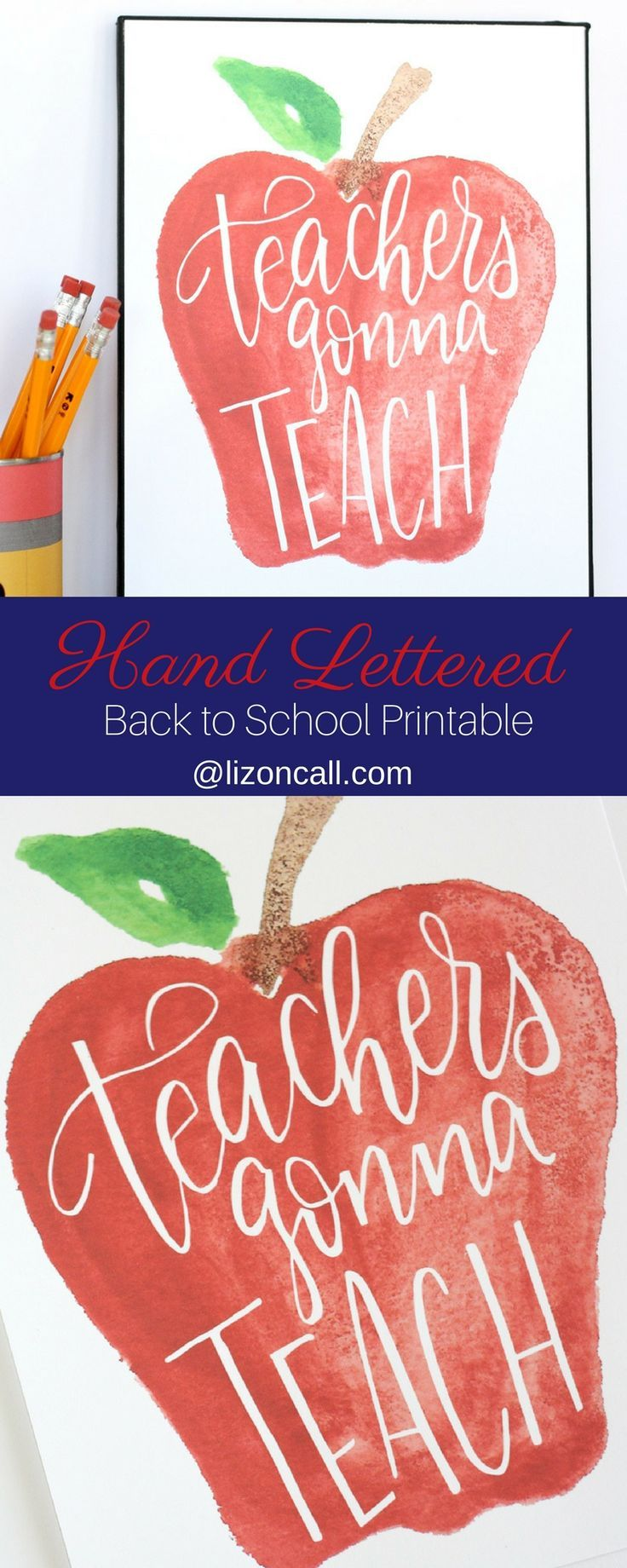 This sweet hand lettered and watercolored teachers gonna teach printable would m...