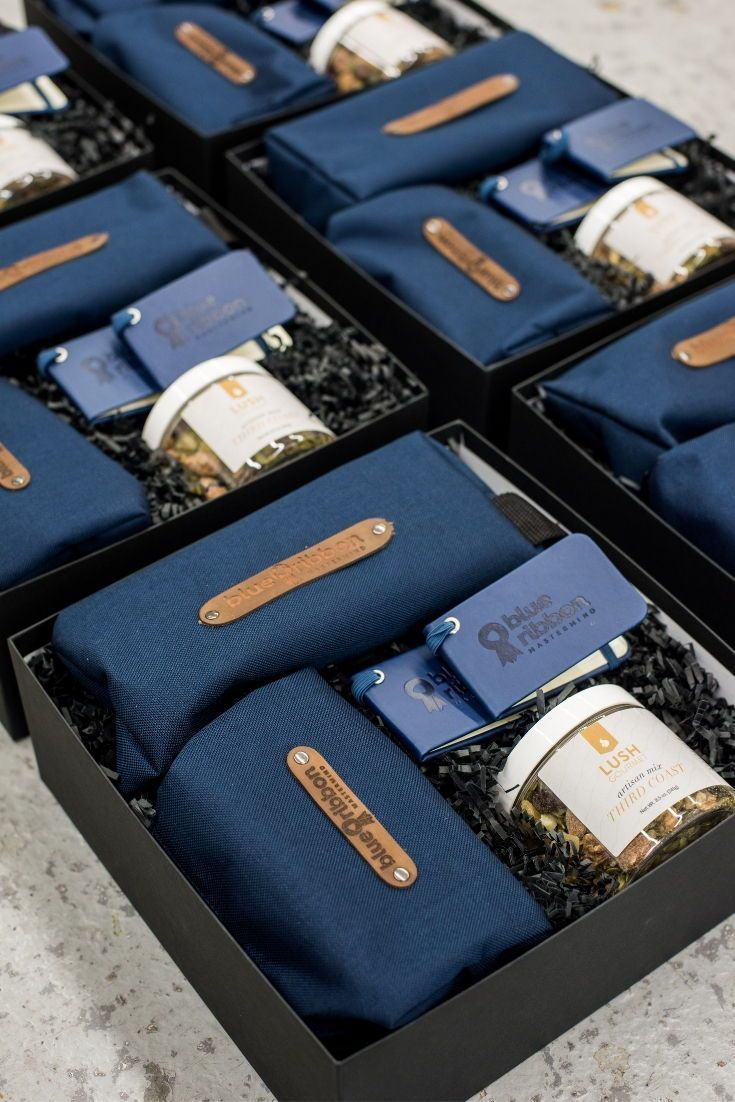 CORPORATE EVENT GIFTS//  Blue and black company logo corporate retreat gift boxe...
