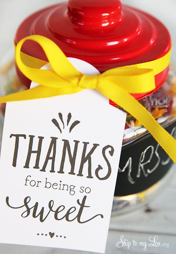 Back to school teacher gift idea: thanks for being so sweet free printable tag #...