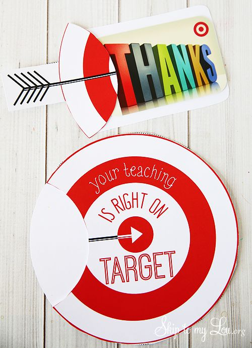 Back to school teacher gift idea: free printable target gift card holder! #print...