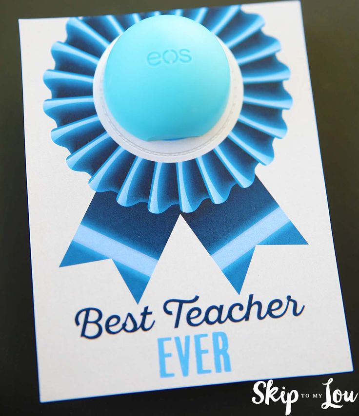 Best Teacher Ever EOS Lip Balm Gift is a cute way to give your teacher a blue ri...