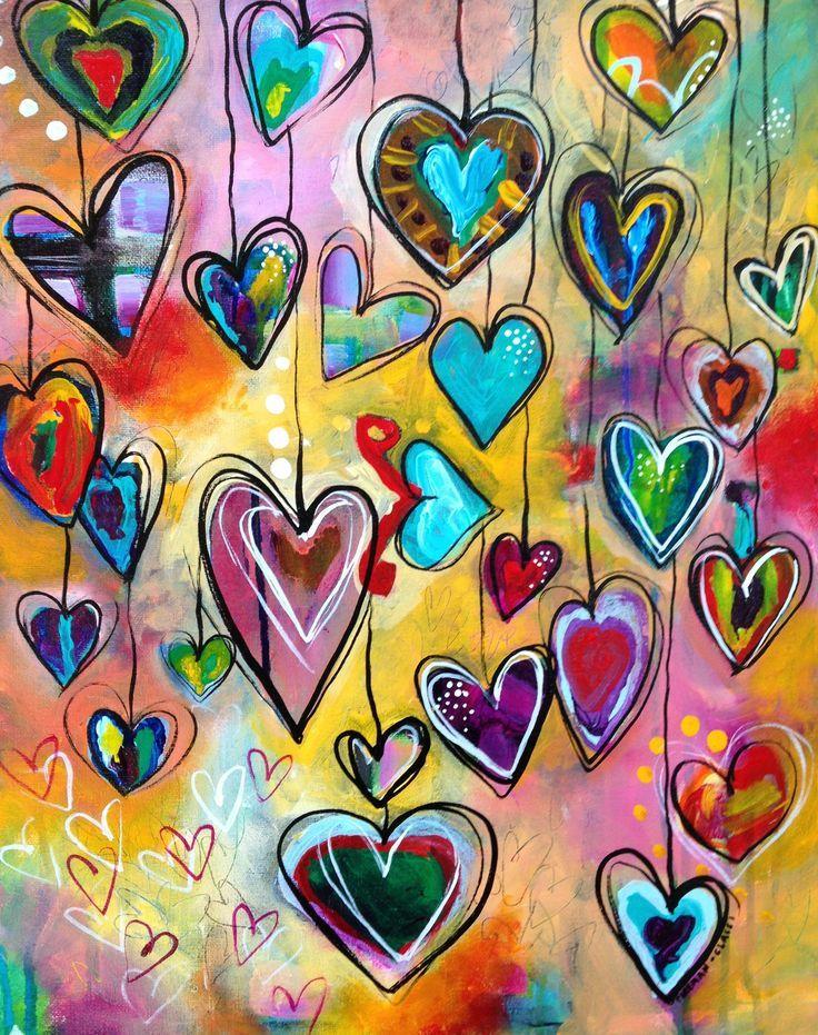 Classroom teacher appreciation gift idea- each student paints a heart.