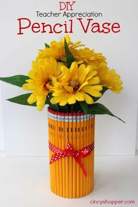 DIY Teacher Appreciation Gift Pencil Vase #backtoschool