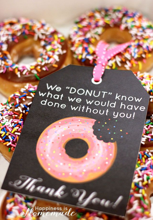 Free Printable Donut Thank You Gift Tag Notes
