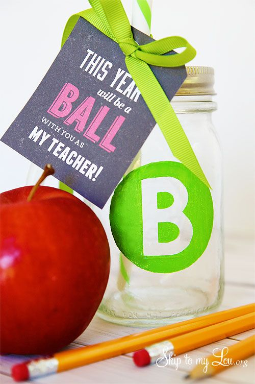 Monogrammed ball drinking glass with free printable tag: