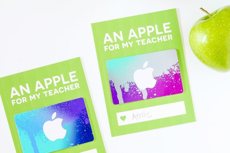 Love this card to dress up an iTunes Gift Card for Teacher Appreciation via @Pag...