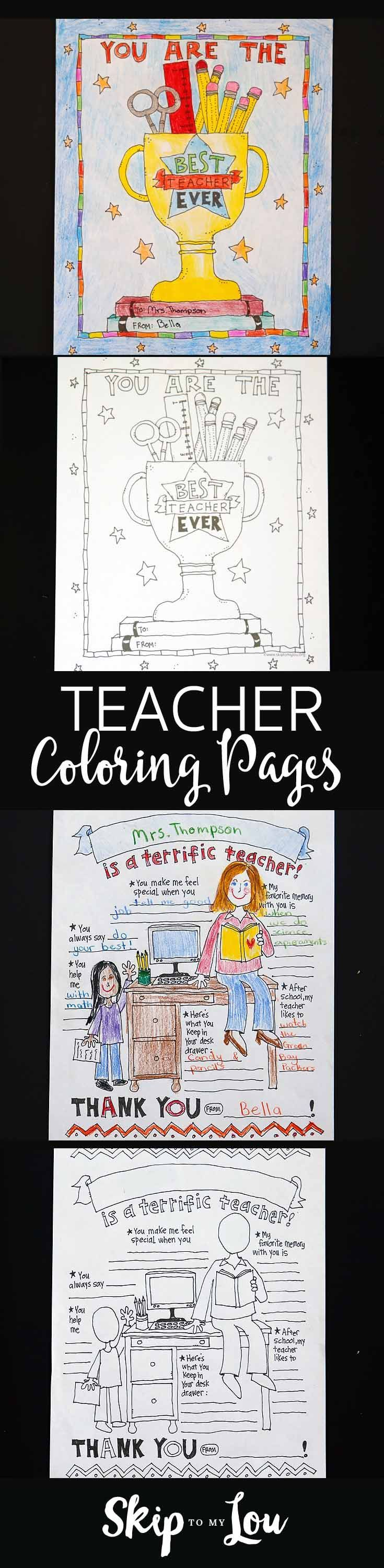 Print at home coloring pages for teacher a appreciation gift!