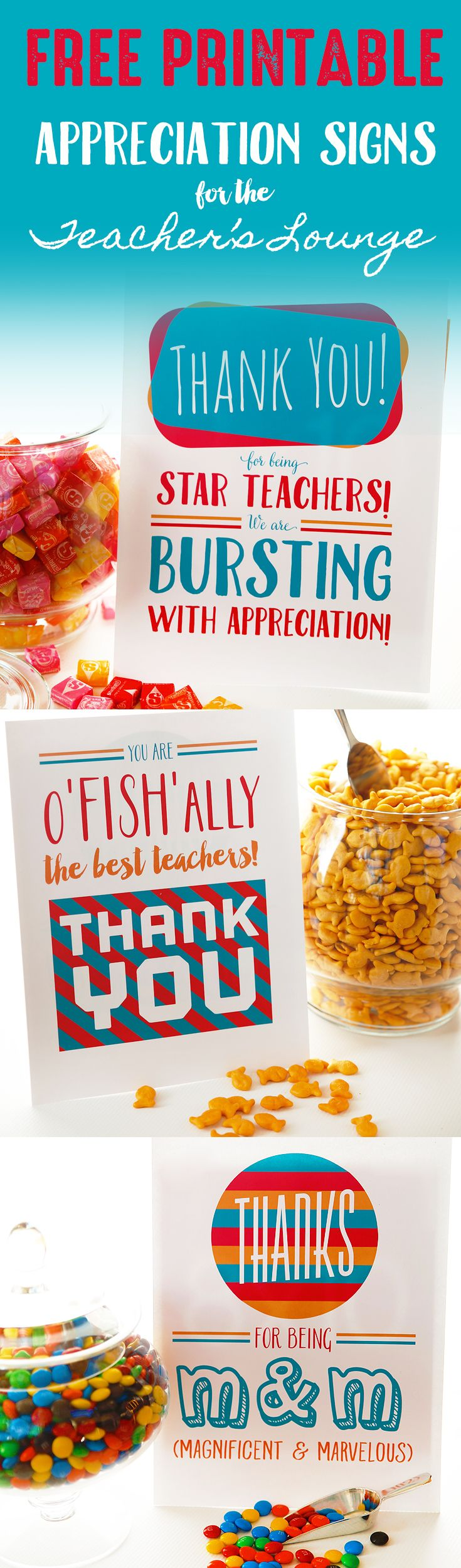 Printable Appreciation Signs For Teacher's Lounge