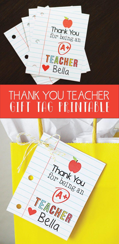 Printable thank you teacher gift tag for teacher appreciation week