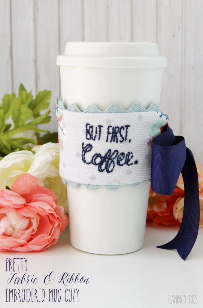 This pretty ribbon & fabric embroidered mug cozy is such a fun and useful gift, ...