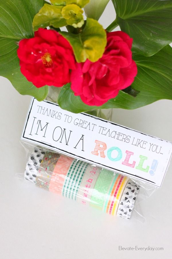 This washi tape teacher appreciation gift idea is a clever but useful way to say...