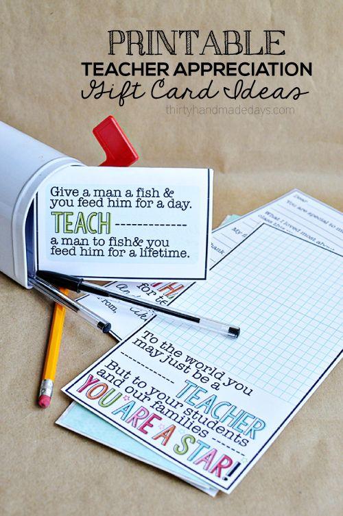 Cute Printable Teacher Gift Card Ideas from www.thirtyhandmad... #print #backtos...