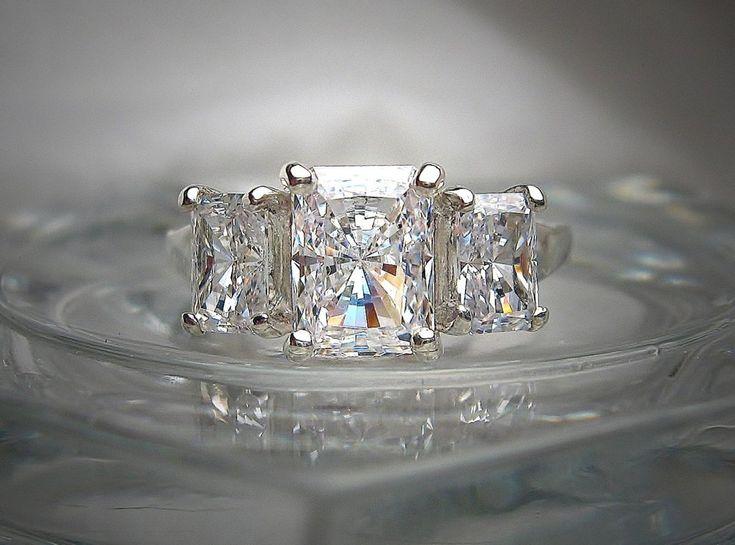 1.6CT Radiant Cut Russian Lab Diamond Engagement Wedding Anniversary Ring