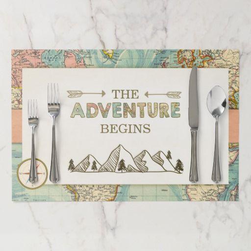 Adventure Begins Placemat World Map Vintage