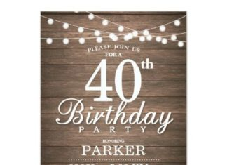 Birthday Gifts Ideas Rustic 40th Invitation String Lights Wood
