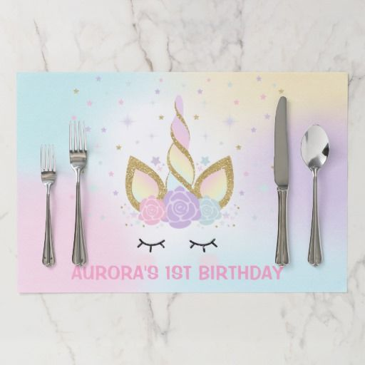 Unicorn Birthday Party Placemat Magical Pink Gold