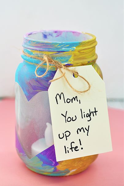 A DIY mason jar votive is a Mother's Day gift kids can help create and Mom will ...