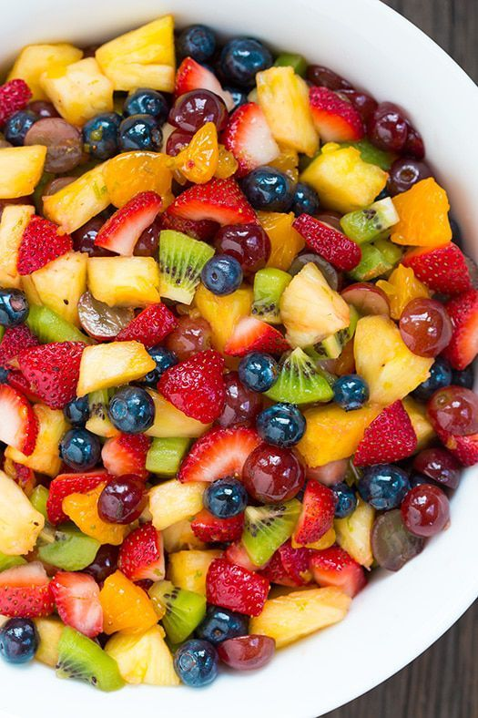 A colorful fruit salad is a healthy yet tasty side dish to serve on Mother's Day...