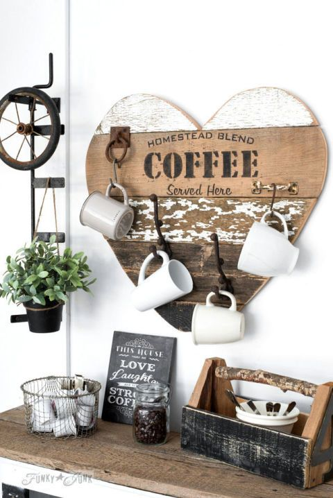 Coffee Station:  Does mom love her morning brew? This cute coffee sign, made of ...