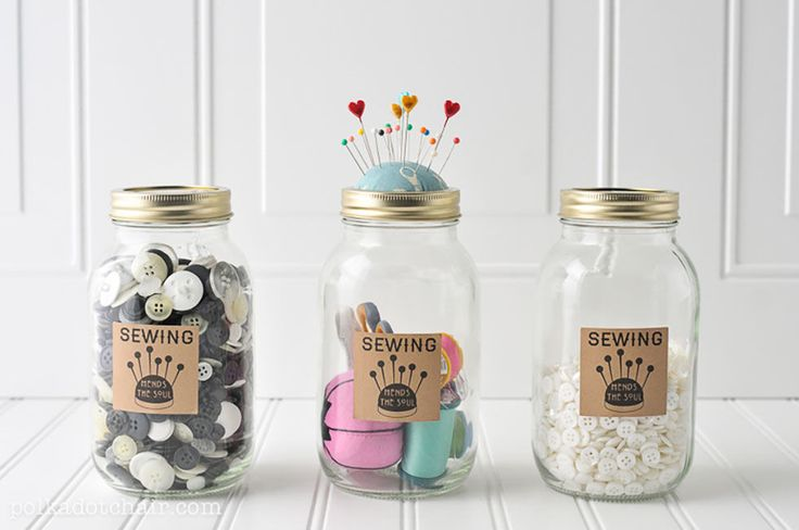 Mason Jar Sewing Kits:  There are quite a few Mason jar crafts out there that wo...