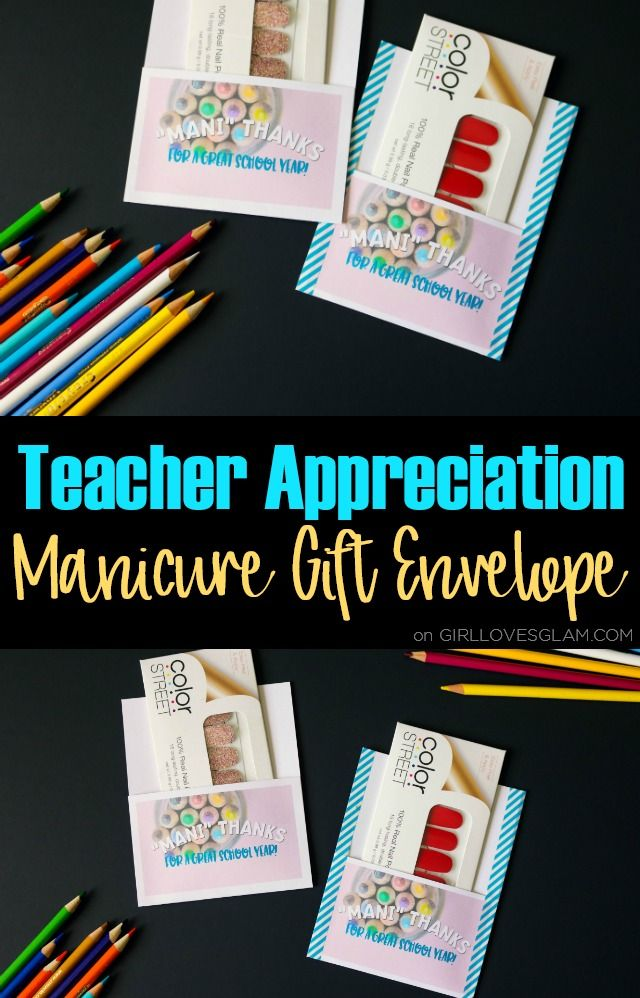 Teacher Appreciation Manicure Gift Envelope on www.girllovesglam...